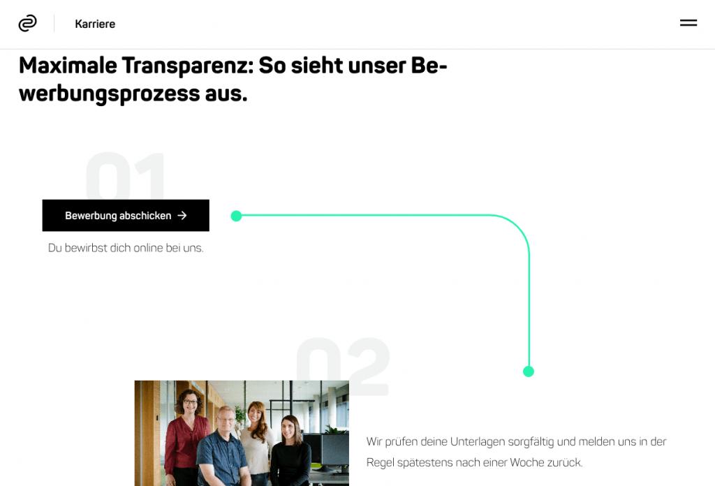 Die codecentric AG bietet Bewerber*innen einen transparenten Bewerbungsprozess – super! Quelle: codecentric Website